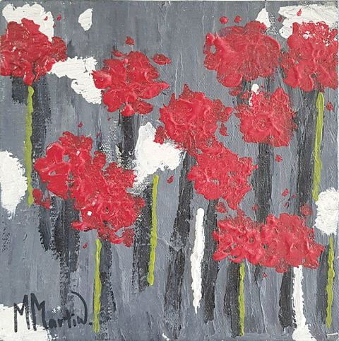 Red Flower on Grey #027