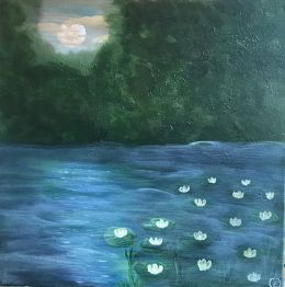Water lillies in moon light